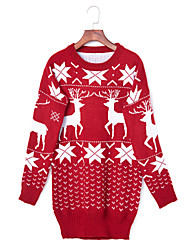Women's Going out Holiday Cute Long Pullover,Animal Print Red Round Neck Long Sleeve Rabbit Fur Winter Medium Micro-elastic