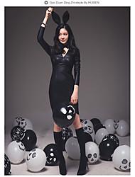 les femmes d'hiver version coréenne de l'afflux de nouveaux tempérament jupe en cuir PU mince était mince col V à manches longues robe