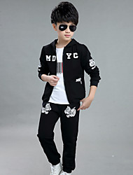 Boy's Going out Casual/Daily Sports Print Cotton Spring/Fall Long Sleeve Coat Jacket Pants 2 Piece Clothing Set Children's Garments