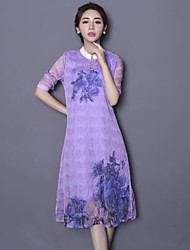 Sign cheongsam dress 2016 spring new retro collar Slim woman printed silk dress