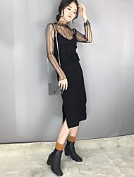 Signe # printemps flounced longue coupe tricot robe sexy v-cou slim dress ourlet fendue femelle marée