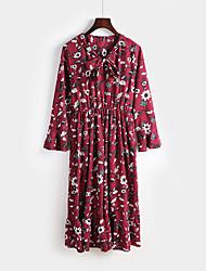 Mujer Corte Ancho Vestido NocheFloral Escote Chino Midi Manga Larga Poliéster Primavera Tiro Medio Rígido Medio