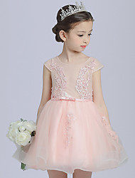 Ball Gown Short / Mini Flower Girl Dress - Cotton Satin Tulle Jewel with Appliques Bow(s) Pearl Detailing Sash / Ribbon