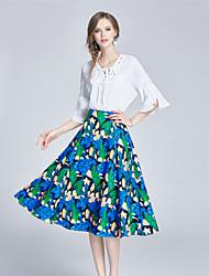 Feminino Camisa Saia Conjuntos Happy-Hour Casual Fofo Moda de Rua Com Molas Verão,Floral Poliéster Elastano Decote V3/4 de Comprimento de