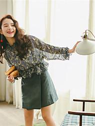 2017 mola nova primavera e verão coreano camisa selvagem camisa de mangas compridas chiffon blusa assentamento camisa pequena