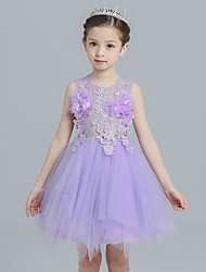Ball Gown Short / Mini Flower Girl Dress - Cotton Satin Tulle Jewel with Appliques Flower(s)