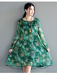 Sign 2017 spring and summer new retro national wind printing large size long-sleeved silk dress