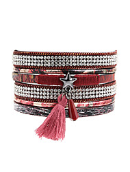 Women's Leather Bracelet Fashion Bohemian Leather Rhinestone Rectangle Jewelry ForWedding Party Special Occasion Halloween Anniversary