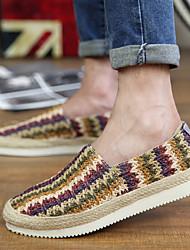 Бежевый Коричневый Радужный-Для мужчин-Для прогулок Для офиса Повседневный-Материал на заказ клиента-На плоской подошве-Удобная обувь