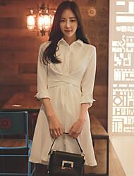 знак весной 2017 корейское торговые дамы темперамент тонкий бандаж платье белое с длинными рукавами, длинные секции