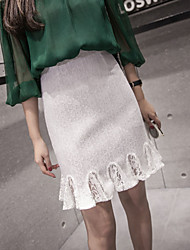 Sign 2017 spring and summer lace skirts fishtail skirt was thin package hip skirt flounced skirt