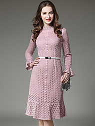 SUOQI Spring Summer Women For Dresses Trumpet/Mermaid Dress Stand Solid Color Lace Collar Long Sleeve Dress