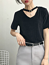 Sign comfortable fabric ultra-thin classic wild temperament T-shirt