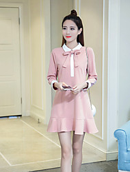 2017 spring women's bow doll collar long-sleeved dress and long sections Slim thin base skirt flouncing