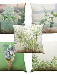 Set of 5 Simple Plant  Pattern  Linen Pillowcase Sofa Home Decor Cushion Cover (18*18inch)