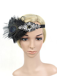 Women's Peacock Feather/Beads Rhinestone Elasticity Headpiece-Special Occasion/Party Flowers 1 Piece Headdress Hair Band Hair Accessories Black