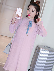 Women's Casual/Daily Sexy Chinoiserie Summer Blouse Dress Suits,Solid Stand Long Sleeve Pleated Cotton
