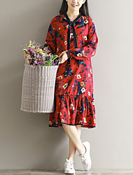 Sign Fan art loose V-neck long-sleeved dress lace flounced chiffon floral skirt