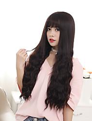Perruques synthétiques longues perruques résistantes à la chaleur de la couleur brune aux femmes