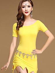 Dança do Ventre Vestidos Mulheres Treino Algodão Modal 2 Peças Manga Curta Natural Vestidos Shorts 82