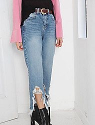 Explosion models! X2 personality autumn and winter before drawing irregular hem hole jeans skinny straight jeans