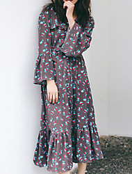 Women's Casual/Daily Loose Dress,Floral Round Neck Midi Long Sleeve Polyester Spring Summer Mid Rise Micro-elastic Medium