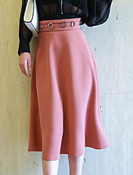Damen Hohe Hüfthöhe Ausgehen Midi Röcke A-Linie einfarbig Riemengurte