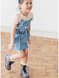 Girl's Casual/Daily Solid Dress,Cotton Summer ½ Length Sleeve