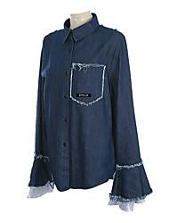 Feminino Camisa Social Trabalho Vintage Todas as Estações,Sólido Couro de Bezerro Decote V Manga Longa Média