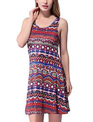 Women's Boho Casual/Daily Club Boho Sheath Dress,Polka Dot U Neck Midi Above Knee Sleeveless Polyester All Seasons Low Rise