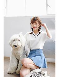 Damen Solide Einfach Ausgehen T-shirt,V-Ausschnitt ½ Länge Ärmel Baumwolle