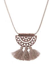 Lureme Vintage Filigree Half Round Shape with Khaki Tassel Adjustable Necklace