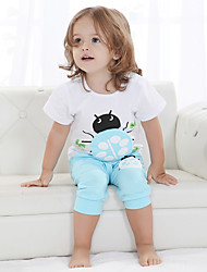 Unisex Going out Casual/Daily Sports Print Patchwork Cotton Summer Short Sleeve Pants 2 Piece Clothing Set Boy Girl Children's Garments