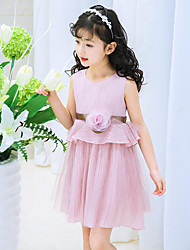 Girl's Casual/Daily Holiday School Solid Dress,Cotton Polyester Summer Sleeveless