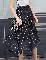 Women's Mid Rise Going out Casual/Daily Midi Skirts Trumpet/Mermaid Chiffon Geometric Spring Summer