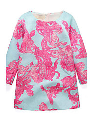 Girl's Print Dress,Rayon Spring Fall Long Sleeve