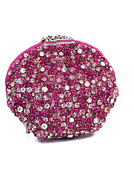 Women India Handcraft Pink Crystal Beads Rhinestone Event/Party/Clutches Bag