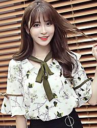 2017 vídeo fornecido coreano floral arco trompete mangas flounced v-neck chiffon camisa fresca