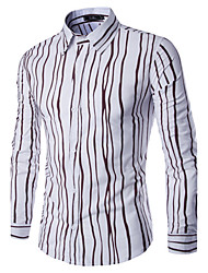 Men's Fashion Casual Fine Irregular Stripes Stitching Long-Sleeved Shirt