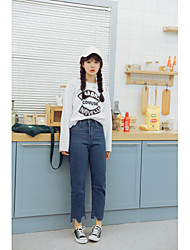 LEMON Sign 2017 spring new lady students fresh College Students dark blue denim trousers nine points