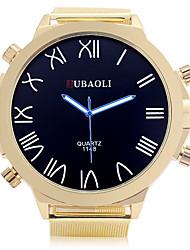 JUBAOLI Men's Sport Watch Quartz Alloy Band Black Gold