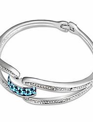Mulheres Bracelete Jóias Amizade Moda Cristal Liga Forma Geométrica Arco-íris Azul Rosa claro Jóias Para Aniversário 1peça