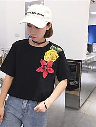 signe t-shirt de broderie coréenne de fleurs populaire à manches courtes