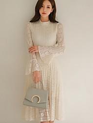 compras coreano vestido de renda maxi