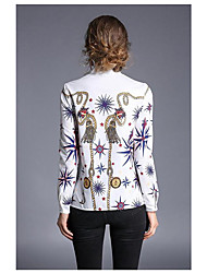 Women's Casual/Daily Simple Spring Shirt,Print Crew Neck Long Sleeve Polyester Thin