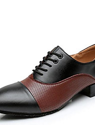 Men's Dance Shoes Leather Modern Heels Low Heel Outdoor / Performance Black/White/Brown