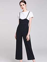 NEDO The spring of 2017 the new women's travel date fashion stripe suspenders wide-legged jumpsuits
