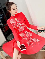 signe 17 printemps Dongkuan nouveau look était mince robe jupe femmes d'hiver col brodé