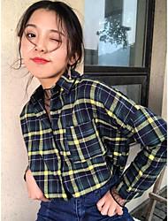 signe du printemps coréen chemise en coton lâche manches longues à carreaux casual chemise bf femelle