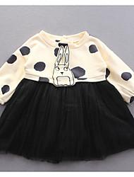 Girl's Sports Print Dress,Cotton Spring Long Sleeve